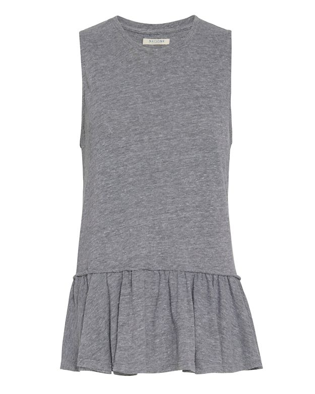 Nation EXCLUSIVE Ruffle Tank: Grey