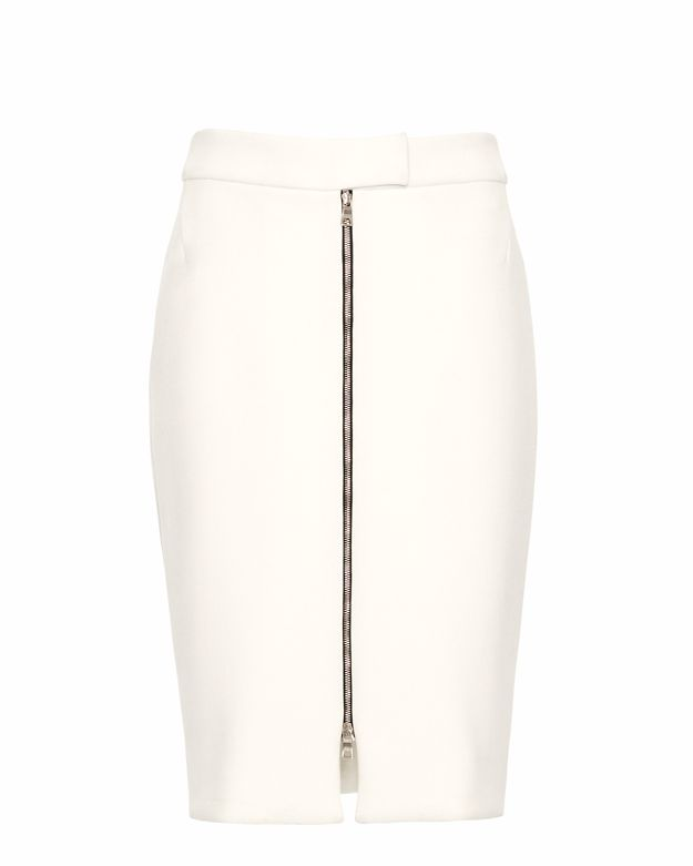 L'Agence Zip Front Skirt: White