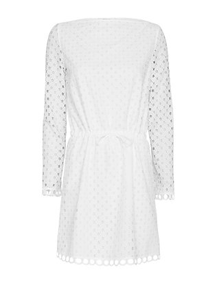Carven Cotton Eyelet Dress: White