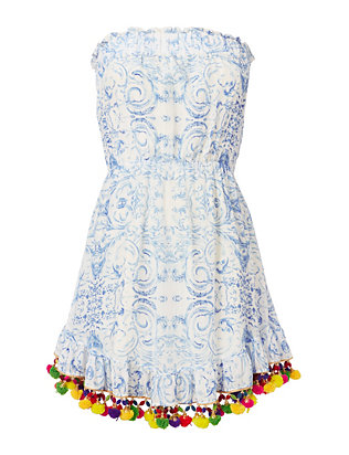 Midsummer's Sky Pom Strapless Dress