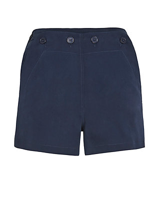 Joie Silk Sailor Shorts: Navy