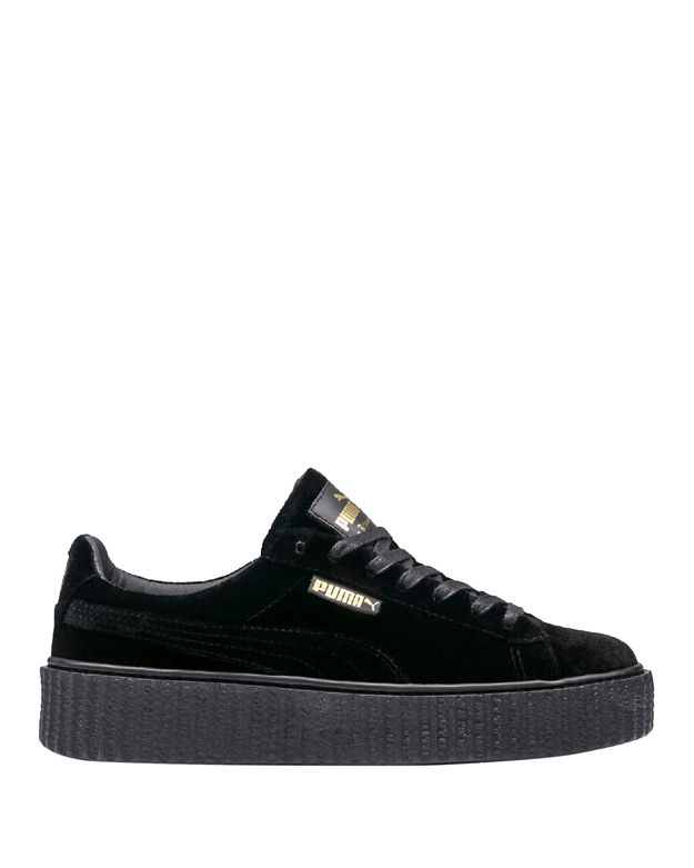 Puma Fenty by Rihanna Creeper Black Velvet Lace-Up Low Sneakers