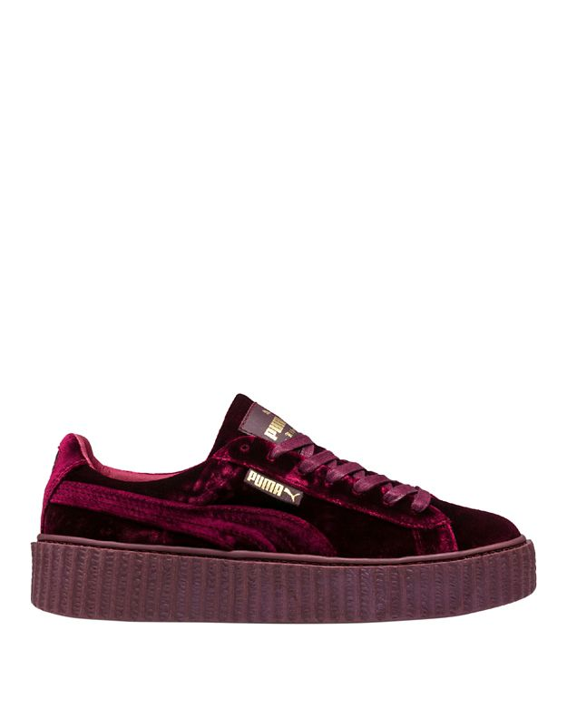 Puma Fenty by Rihanna Creeper Royal Purple Velvet Lace-Up Low Sneakers