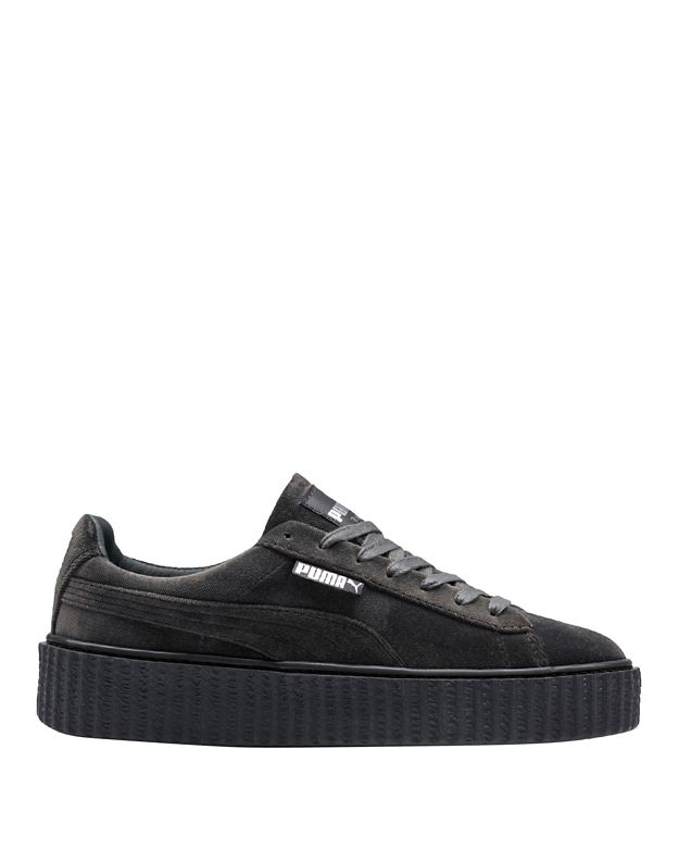 Puma Fenty by Rihanna Creeper Grey Velvet Lace-Up Low Sneakers