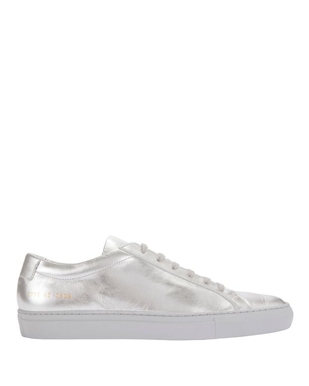 Common Projects Achilles Lace-Up Leather Sneakers: Silver