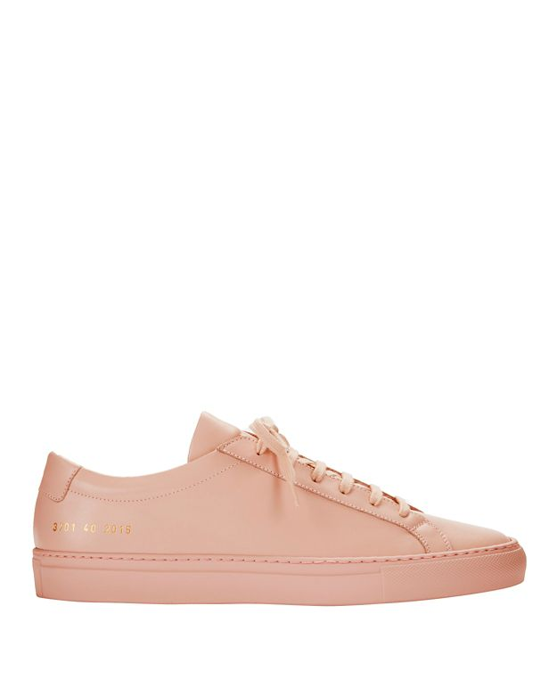 Common Projects Achilles Lace-Up Leather Sneakers: Pink