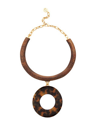Ben Amun EXCLUSIVE Resin Tortoise Pendant Wood Collar