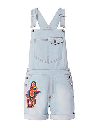 Stella McCartney Sun Faded Embroidery Denim Overalls