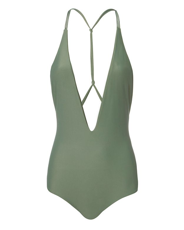 MIKOH Ipanema Strappy Metal-Ring Back One-Piece Swimsuit in Green