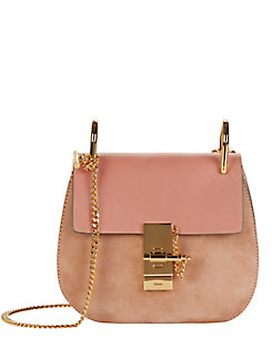 Chloe Drew Mini Leather/Suede Shoulder Bag: Pink