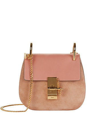 Chloé Drew Mini Leather/Suede Shoulder Bag: Pink