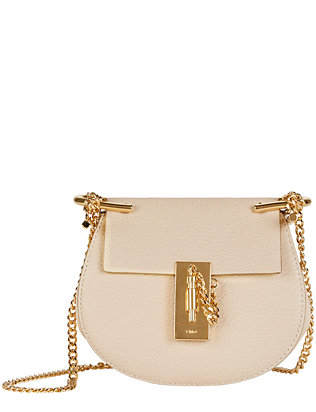 Chloé Drew Nano Leather Crossbody: White