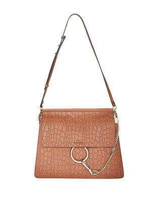 Chloe Faye Croc Embossed Leather Crossbody