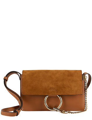 Faye Suede/Leather Crossbody: Brown