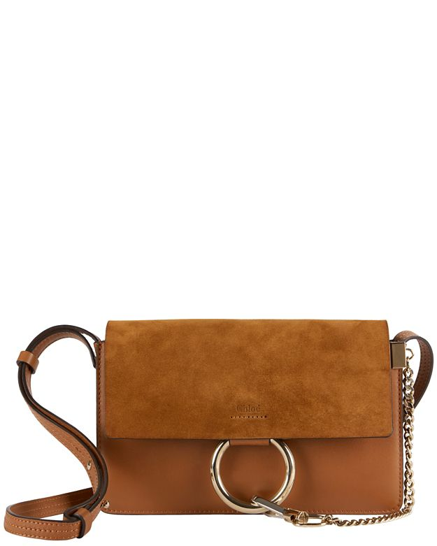 Chloe Faye Suede/Leather Crossbody: Brown