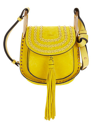 Chloé Hudson Braided Suede Mini Shoulder Bag: Yellow