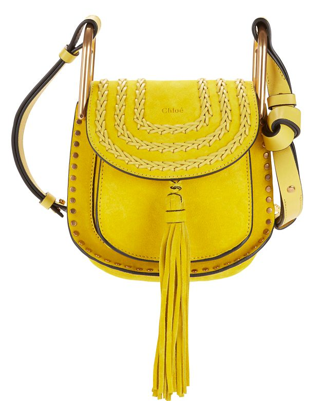 Chloe Hudson Braided Suede Mini Shoulder Bag: Yellow