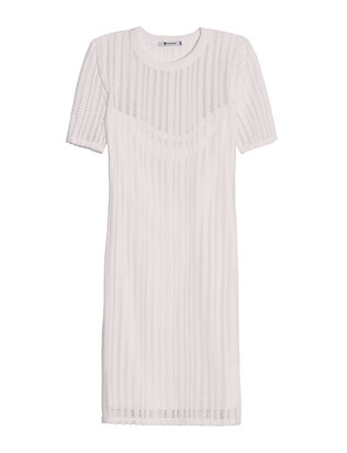 Perforated Tee Dress: White