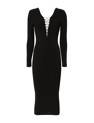 T by Alexander Wang Lace-Up Black Midi Dress