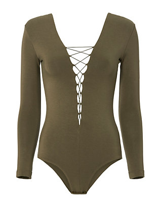 T by Alexander Wang Olive Long Sleeve Lace-Up Bodysuit