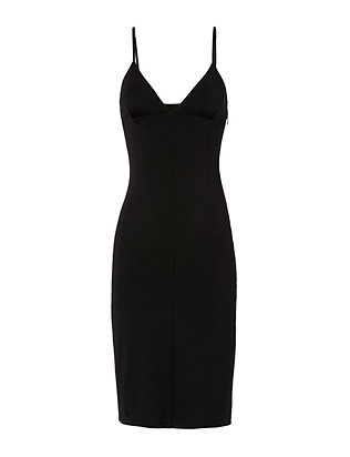 Fitted Ponte Dress: Black