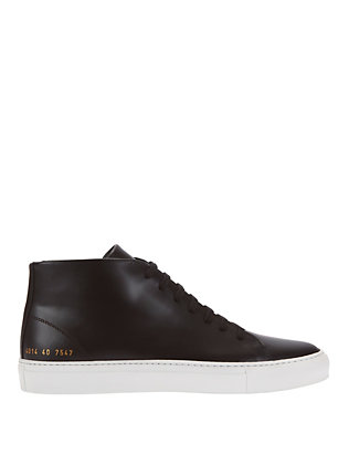 Hi Top Court Lace-Up Leather Sneakers: Black