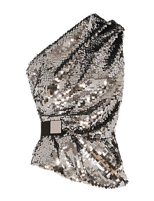 Carven One Shoulder Sequin Top
