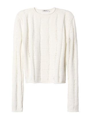 Slashed Merino Wool Crop Pullover