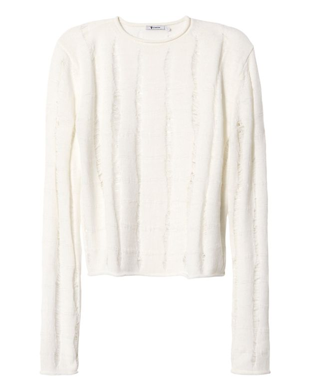 T by Alexander Wang Slashed Merino Wool Crop Pullover