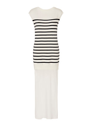 T by Alexander Wang Silk/Striped Knit Combo Tank Dress