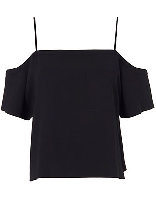 T by Alexander Wang Off The Shoulder Crepe Top: Black