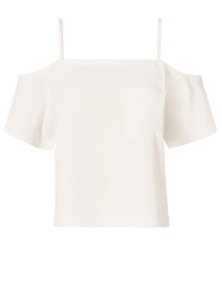 Off The Shoulder Crepe Top: White