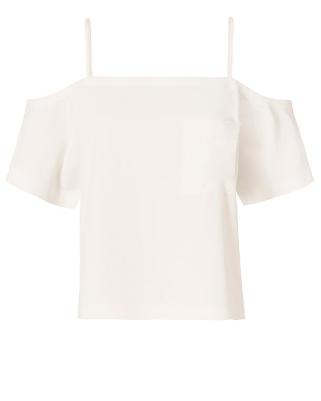 T by Alexander Wang Off-The-Shoulder Crepe Top: White