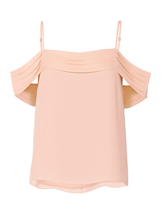 Pleated Shoulder Pink Top