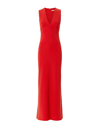 Crepe V Neck Maxi Dress: Cherry