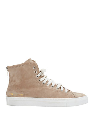 Common Projects Lace-Up High Top Suede Sneaker: Grey