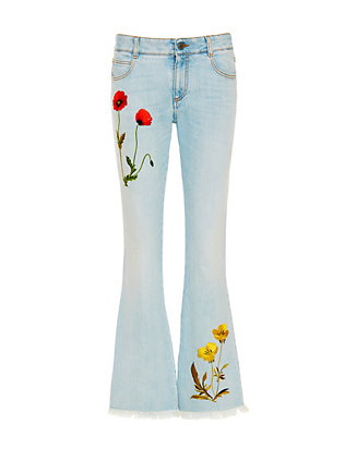 Stella McCartney Botanical Embroidered Sun Faded Skinny