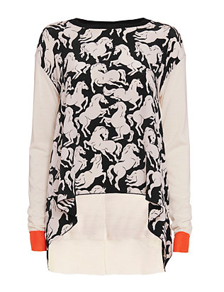 Stella McCartney Horse Print Silk Front Knit