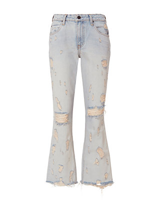 Alexander Wang Grind Destroyed Crop Flare Jeans