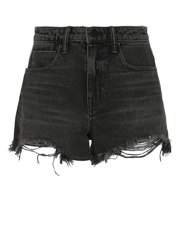 Alexander Wang Bite High Rise Frayed Aged Shorts