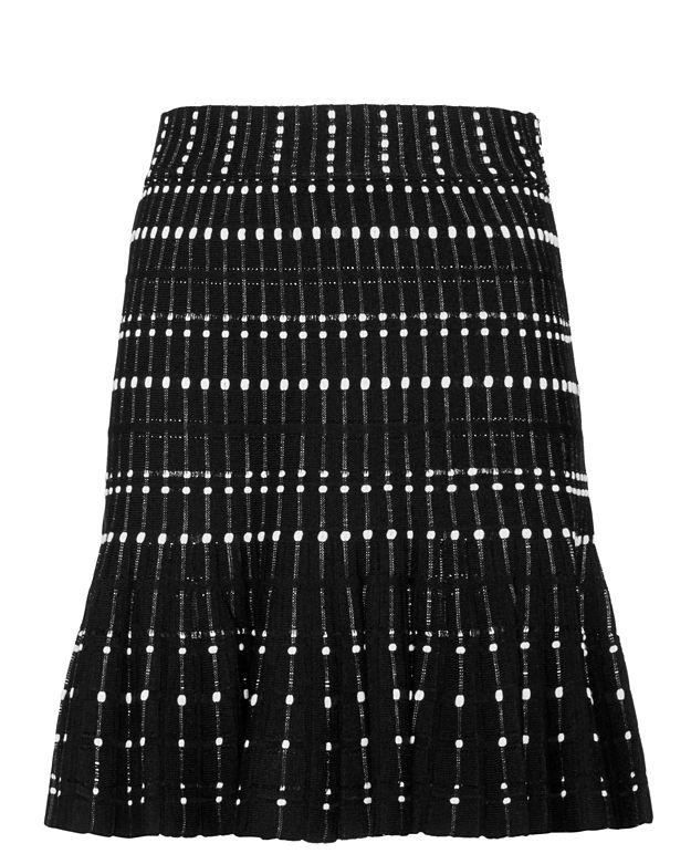 Alexander McQueen Knit Flare Mini Skirt: Black/White