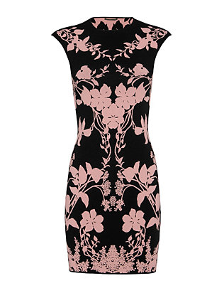 Alexander McQueen Floral Pencil Mini Dress