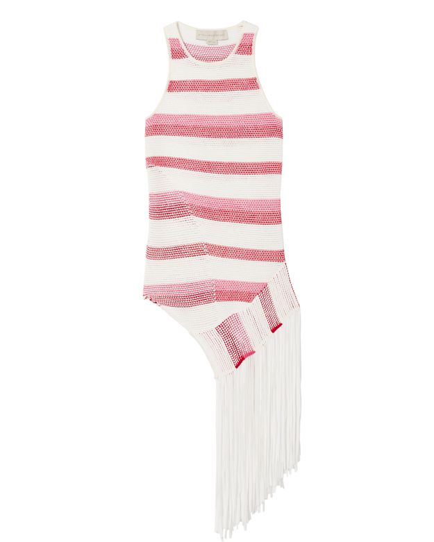 Stella McCartney Striped Fringe Asymmetric Sweater
