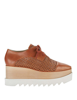Lugged Platform Sole Lace-Up Oxford: Brown