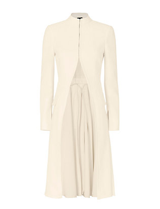Alexander McQueen Pleated Coat: Bone