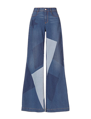 Wide-Leg Patchwork Denim