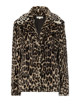 Alter Leopard Pattern Faux Fur Coat
