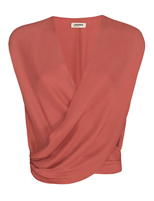L'Agence Cross Front Sleeveless Blouse: Pink Rose