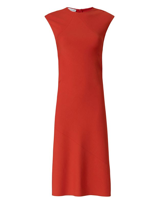Narciso Rodriguez Banded Jersey Dress: Red