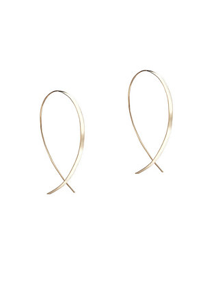 Small Flat Upside Down Hoop Earrings